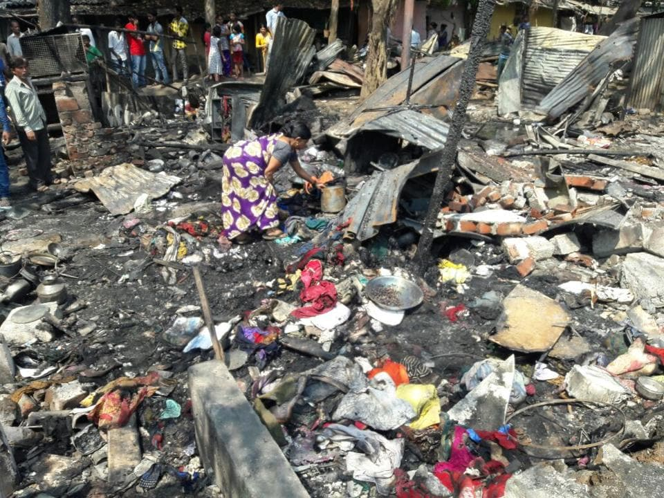 The blast took place around 11am in Gandhi Nagar area, which has a cluster of more than 1,000 illegal slums.