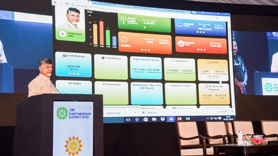 Andhra Pradesh chief minister NChandrababu Naidu addressing the CIIPartnership Summit in  Visakhapatnam on Monday.