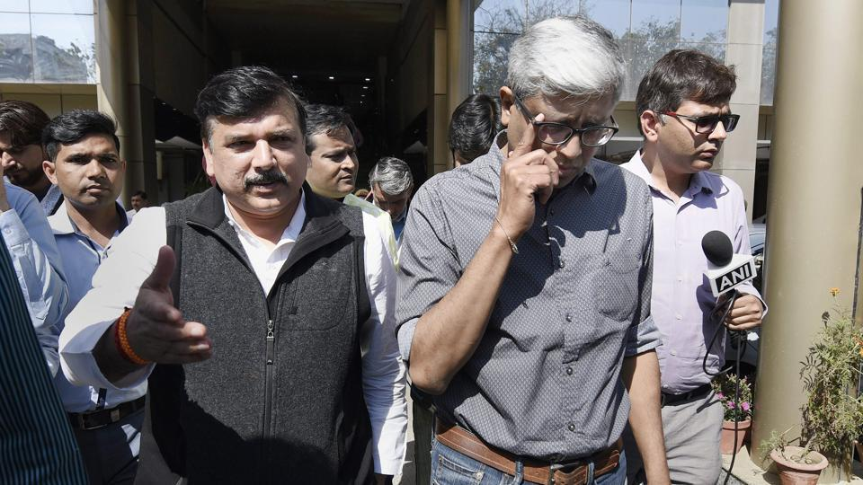 AAP leaders Sanjay Singh and Ashutosh coming out after meeting with Delhi Police commissioner Amulya Patnaik in New Delhi, on Monday.