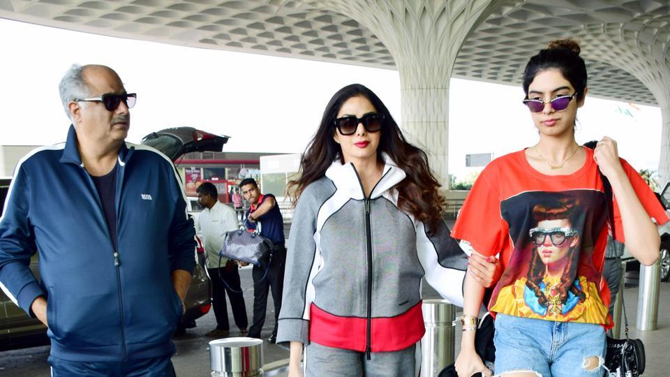 Boney Kapoor, Sridevi and Khushi spotted at the Mumbai airport earlier this month.