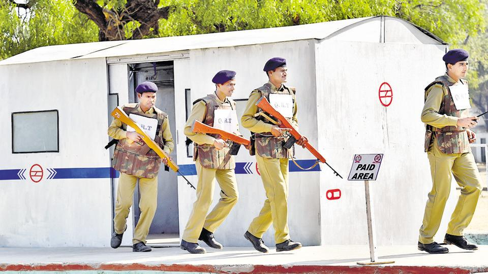 Personnel take part in a training exercise at the CISF's Regional Training Centre in Deoli in Rajasthan.
