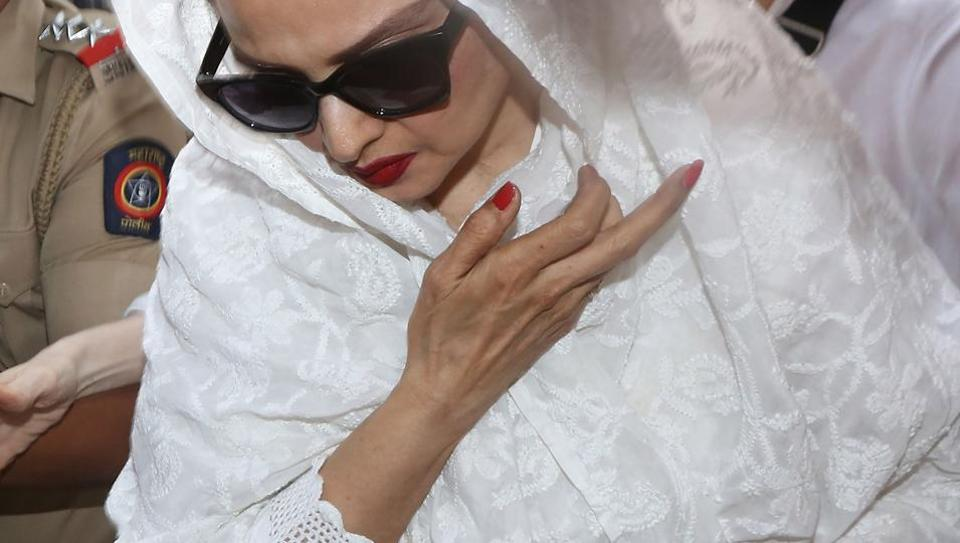 Bollywood actor Rekha arrives at Anil Kapoor's residence in Mumbai following Sridevi's death. An autopsy was conducted late Sunday night and a chartered flight has flown to Dubai to bring the deceased actor to India for her funeral at Mumbai's Pawan Hans in Juhu, Ville Parle. Sridevi, died in a Dubai hotel on February 24, due to accidental drowning. (Sujit Jaiswal / AFP)