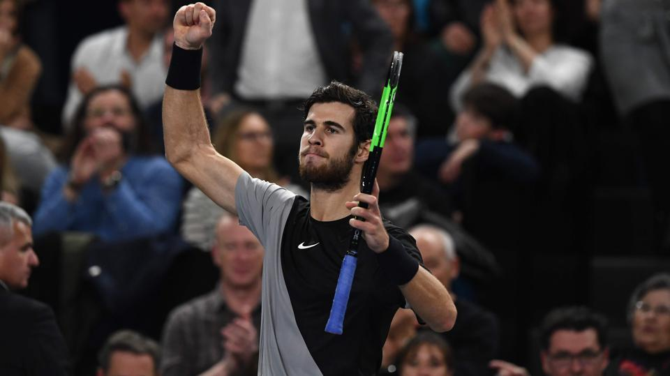 Russia's player Karen Khachanov reacts after his victory against Lucas Pouille at the ATP Marseille Open 13 Provence tennis tournament in Marseille.