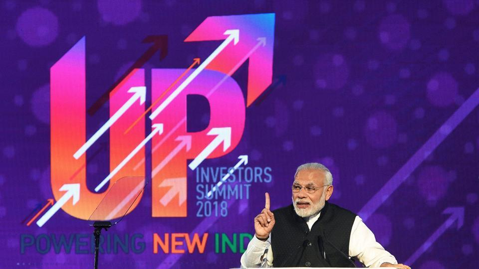Prime Minister Narendra Modi speaks at the inauguration of the UP Investors Summit 2018, in Lucknow.