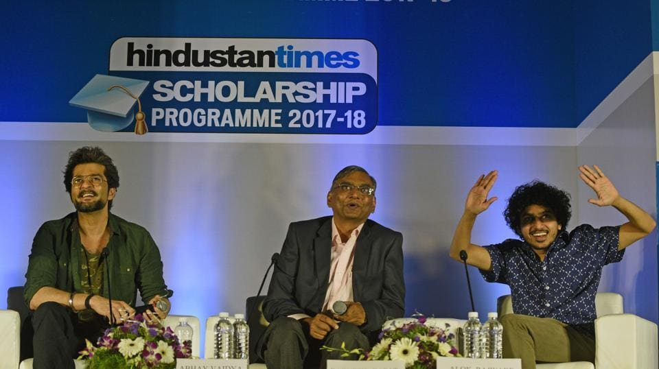 (Left to Right) Actor Raqesh Bapat, Resident Editor of Hindustan Times,Pune, Abhay Vaidya and actor Alok Rajwade share a light moment during the Hindustan Times Scholarship Programme 2017-18 at Jawaharlal Nehru Memorial Hall, Camp in Pune (Pratham Gokhale/HT Photo)