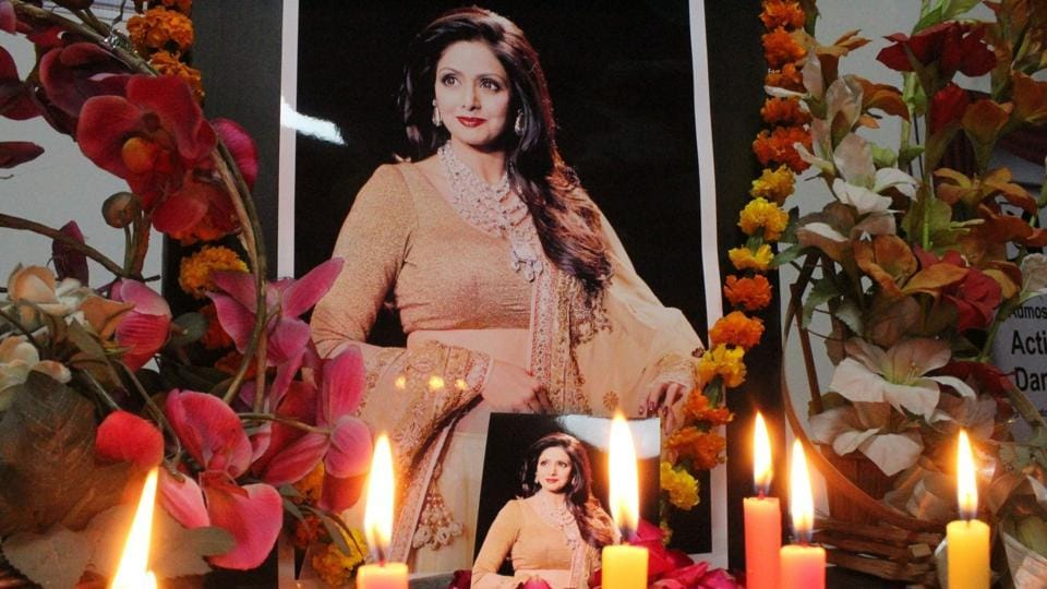 Fans of late Sridevi pay their respects to her in Gurugram on Feb 26, 2018.