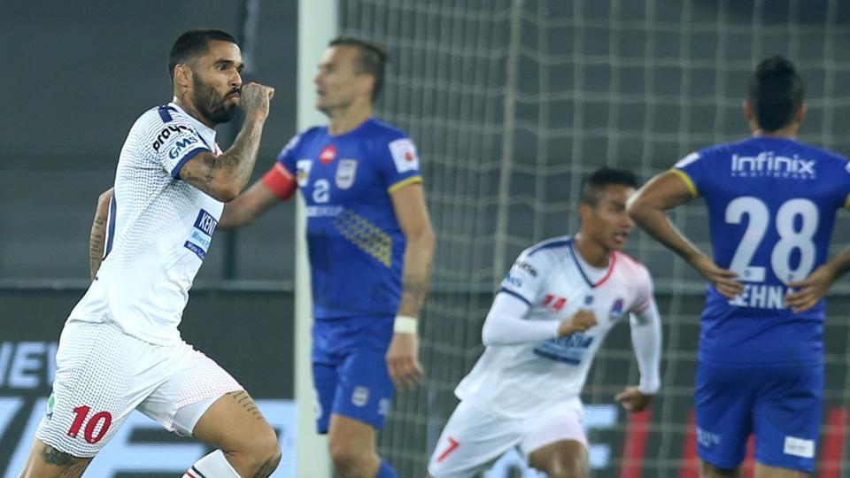 Matias Mirabaje of Delhi Dynamos FC celebrates after scoring against Mumbai City FC in their Indian Super League (ISL)match held at the Jawaharlal Nehru Stadium, New Delhi, onTuesday.