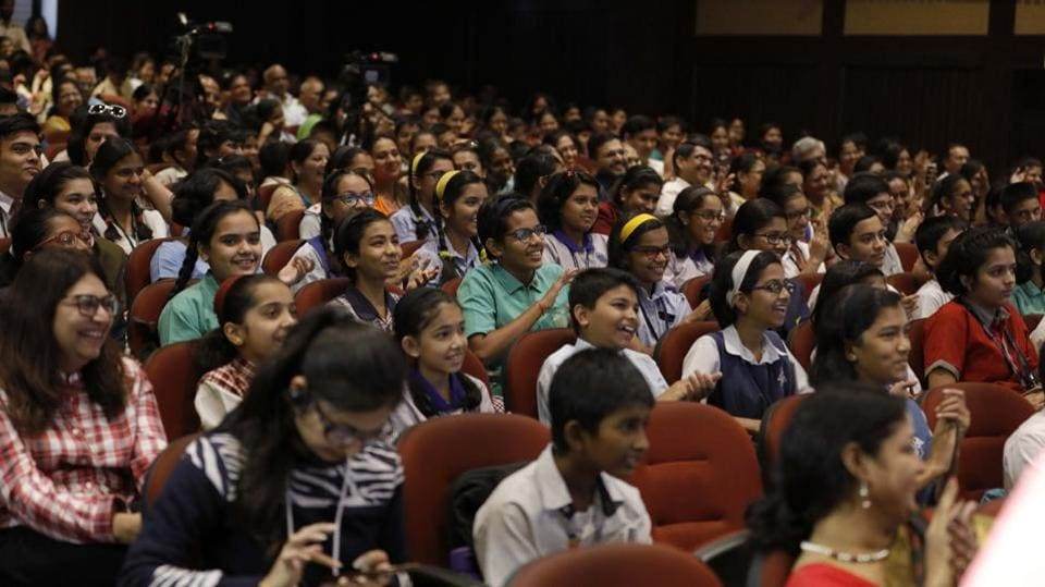 Students share a  light moment during the Hindustan Times Scholarship Programme 2017-18 at Jawaharlal Nehru Memorial Hall, Camp in Pune. (RAHUL RAUT/HT PHOTO)