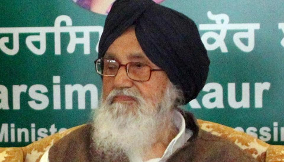 Former chief minister Parkash Singh Badal at Mahant Gurbanta Das School for Deaf and Dumb in Bathinda on Tuesday.