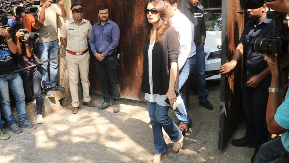 Actor Madhuri Dixit Nene seen at actor Anil Kapoor's residence to meet the grief struck Kapoor family and condole the demise of Sridevi. (IANS)