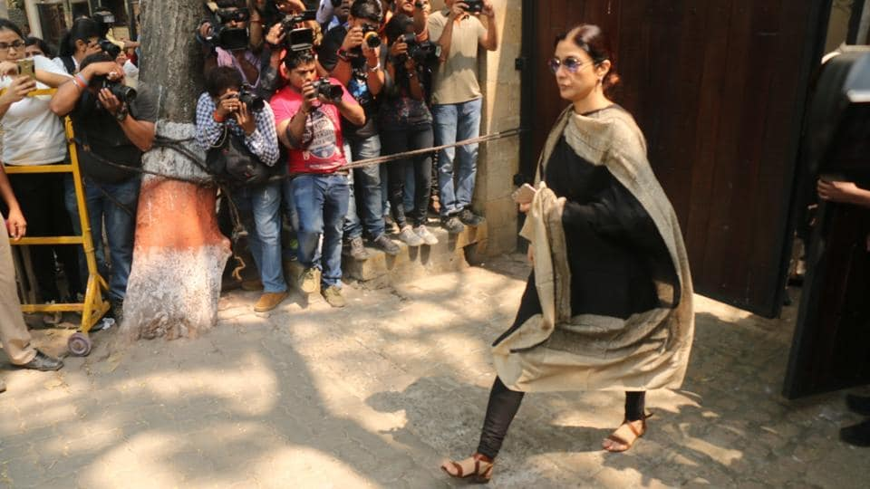 Actor Tabu arrives at Anil Kapoor's residence to condole the demise of Sridevi, in Mumbai. The actor's death on February 24, 2018 sent shock waves across India with those who knew her at a loss to explain how the star, who was present at several wedding functions in Dubai last week, could suddenly breathe her last. Friends and well-wishers from the Indian cinema fraternity have since been arriving at Anil Kapoor's Juhu residence.  (IANS)