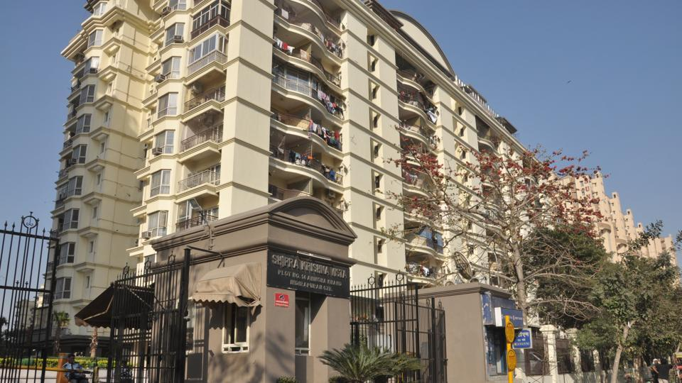The Shipra Krishna Vista high-rise in Indirapuram from where the teenager fell on the intervening night of Monday and Tuesday.