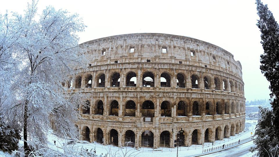 A fisheye view of the Colosseum seen during heavy snowfall in Rome, Italy on February 26, 2018. Rome woke to its first snowfall in six years on Monday thanks to the Polar Vortex. The mercury dipped as low as minus 4 C early Tuesday morning according to the Italian Meteorological Service. (Alberto Lingria / REUTERS)
