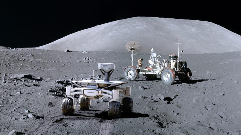 Artist's rendition of the Audi lunar quattro rover that will be sent to the Moon by PTScientists to study NASA's Apollo 17 lunar roving vehicle that was used by the last astronauts to walk on the moon, Eugene Cernan and Harrison Schmitt, in 1972.