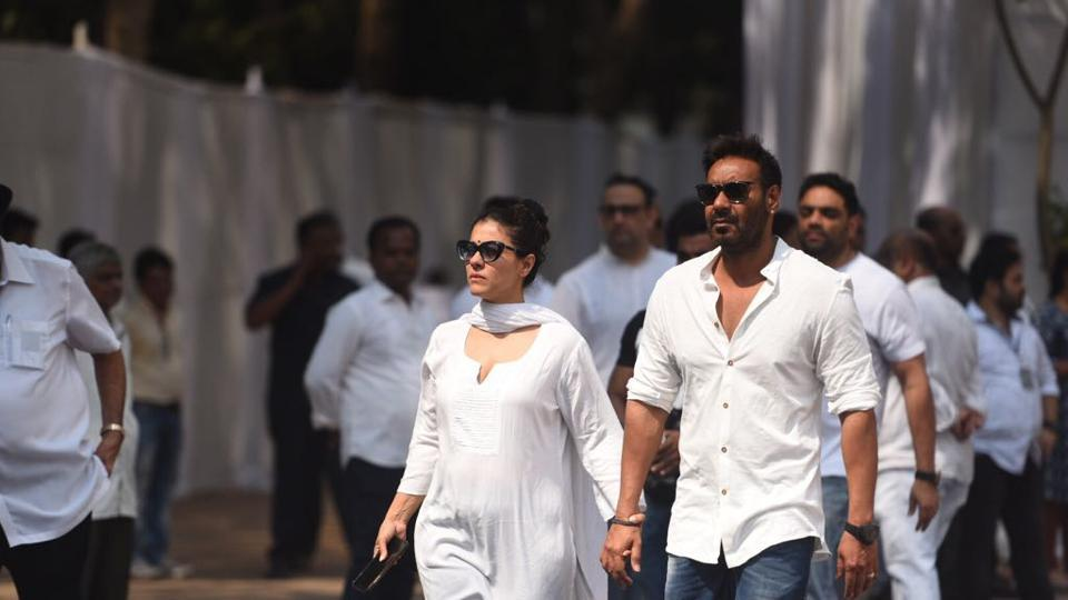 Ajay Devgn and Kajol seen arriving  at the sports club in Mumbai. (Satish Bate / HT Photo)