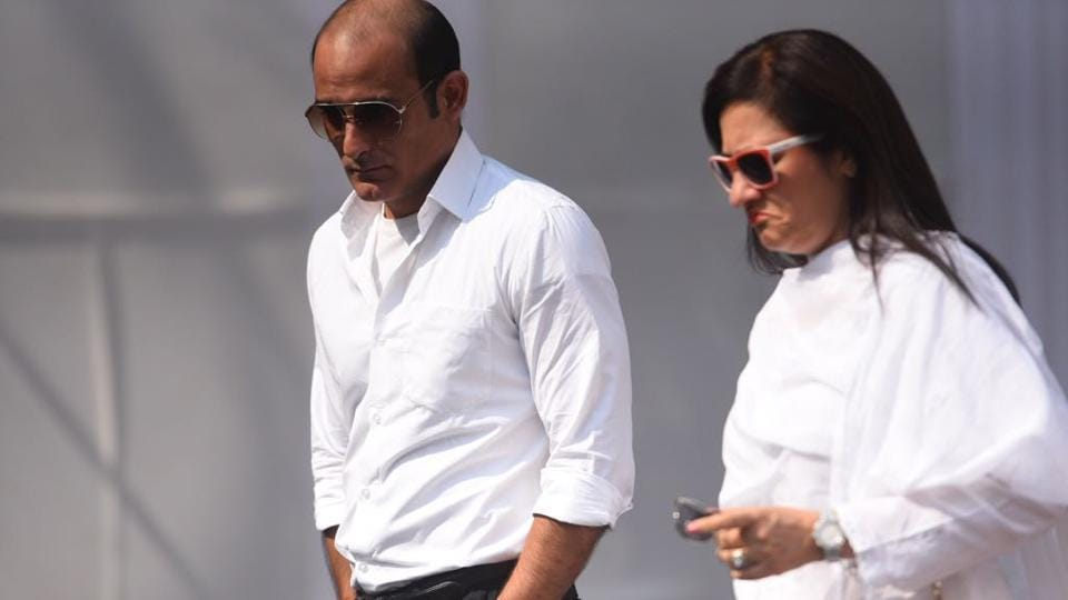 Akshaye Khanna, who worked with Sridevi in her last Bollywood release Mom reached the sports club in Lokhandwala to pay tributes to the late actor. Condolences have poured in since the sudden death of the actress who redefined the importance of the female lead in India's largely male-dominated film industry. (Satish Bate / HT Photo)
