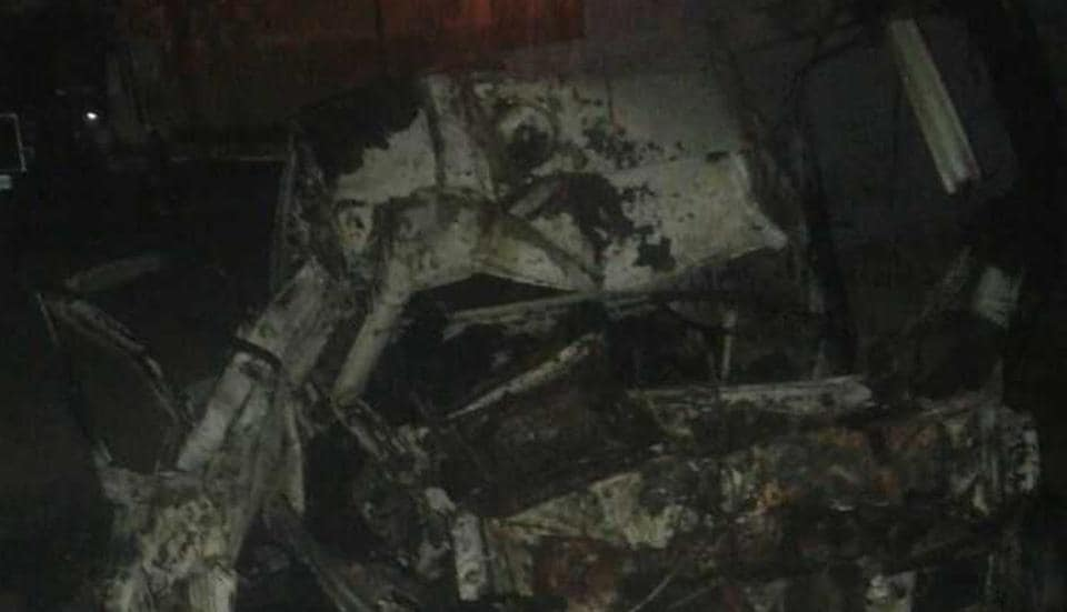 The Maruti Omni ambulance that was gutted in the fire in Badalpur, Greater Noida, on Wednesday.