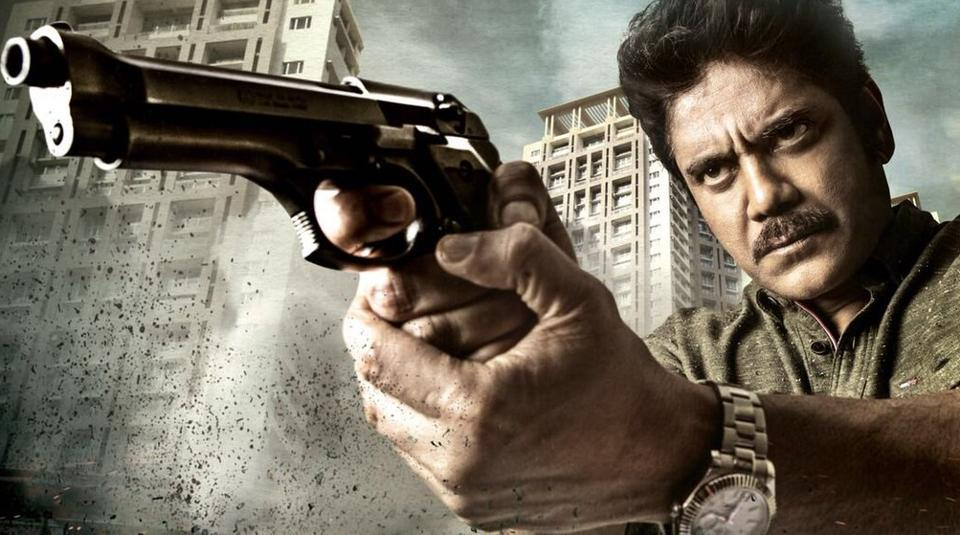 Nagarjuna in a poster of Officer, released by Ram Gopal Varma.