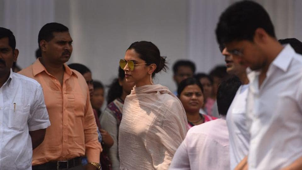 Deepika Padukone arrives at Celebration Sports Club in Lokhandwala. Sridevi, 54, was in Dubai for a wedding in her extended family when she died Saturday. Investigators in Dubai closed their case Tuesday and handed the body to her family. (Satish Bate / HT Photo)