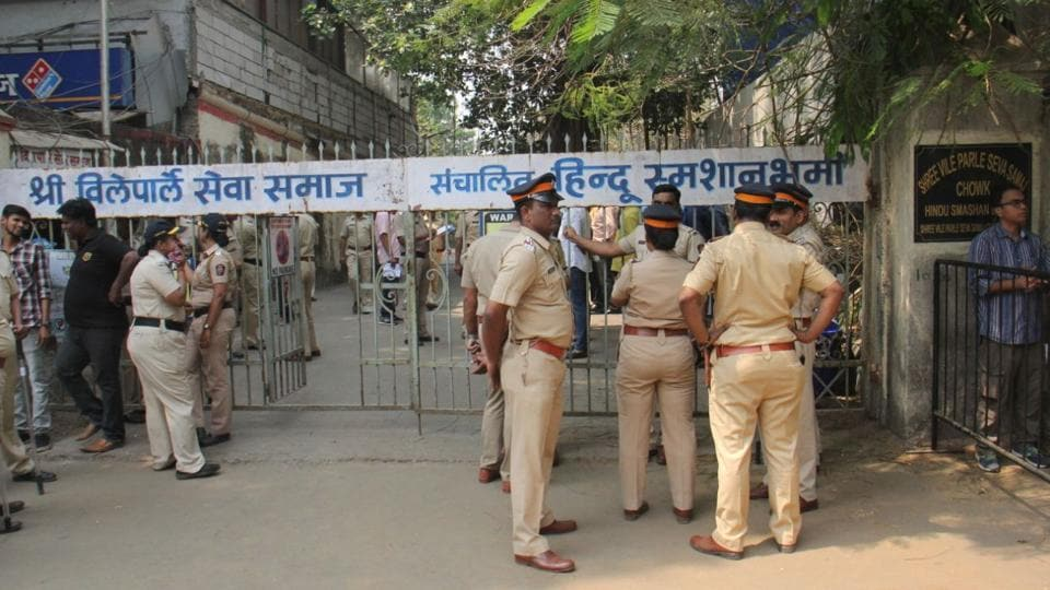 Tight police presence is seen outside the Vile Parle cremation ground where Sridevi's funeral is scheduled to take place in Mumbai. (Pramod Thakur / HT Photo)