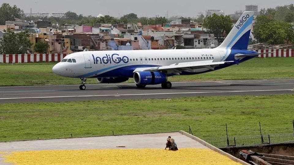 An IndiGo Airlines aircraft moves on the runway after landing at the Sardar Vallabhbhai Patel international airport in Ahmedabad.