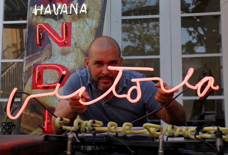 Cuba,Havana,Neon lights