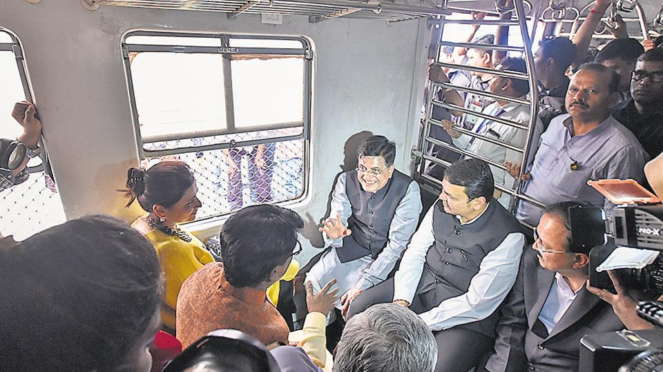 Chief Minister Devendra Fadnavis, Union railway minister Piyush Goyal and defence minister of state Dr Subhash Bhamre travelled in a local train on Tuesday afternoon from Chhatrapati Shivaji Maharaj Terminus to Parel station.