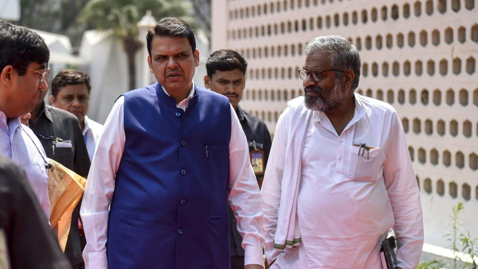 Maharashtra Chief Minister Devendra Fadnavis and BJP leader Pasha Patel during the Maharashtra State Assembly at Vidhan Bhavan on Wednesday.