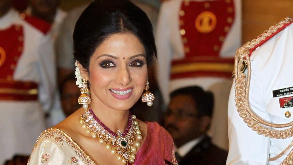Sridevi Dressed In Her Favourite Red And Golden Kanjeevaram Sari