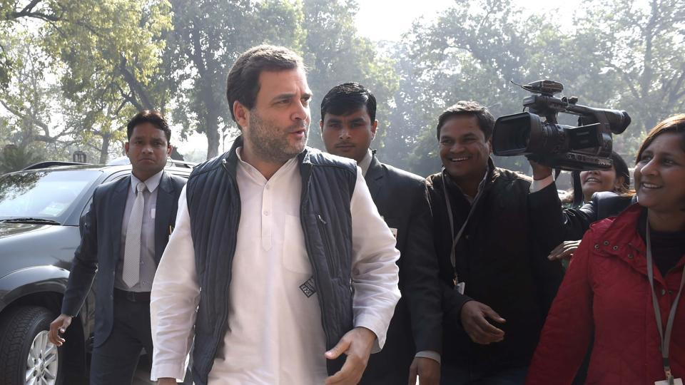 Congress president Rahul Gandhi at Parliament House, New Delhi, February 1