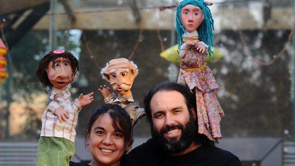 Puppet artistes Laura Mac Laughlin from Argentina and Enrique Crohare from Chile before their show at Tagore Theatre in Sector 18, Chandigarh, on Tuesday.