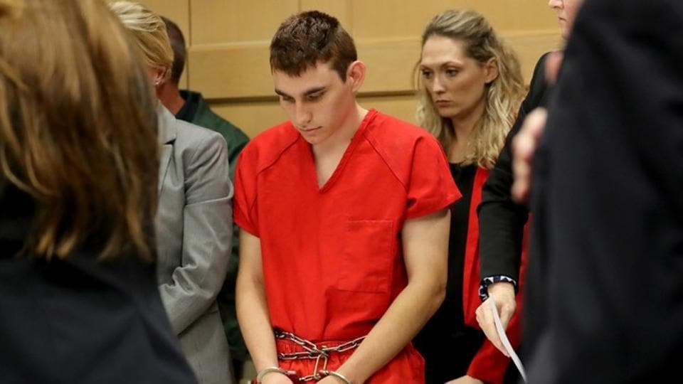 Nikolas Cruz, facing 17 charges of premeditated murder in the mass shooting at Marjory Stoneman Douglas High School in Parkland, appears in court for a status hearing in Fort Lauderdale, Florida, US.