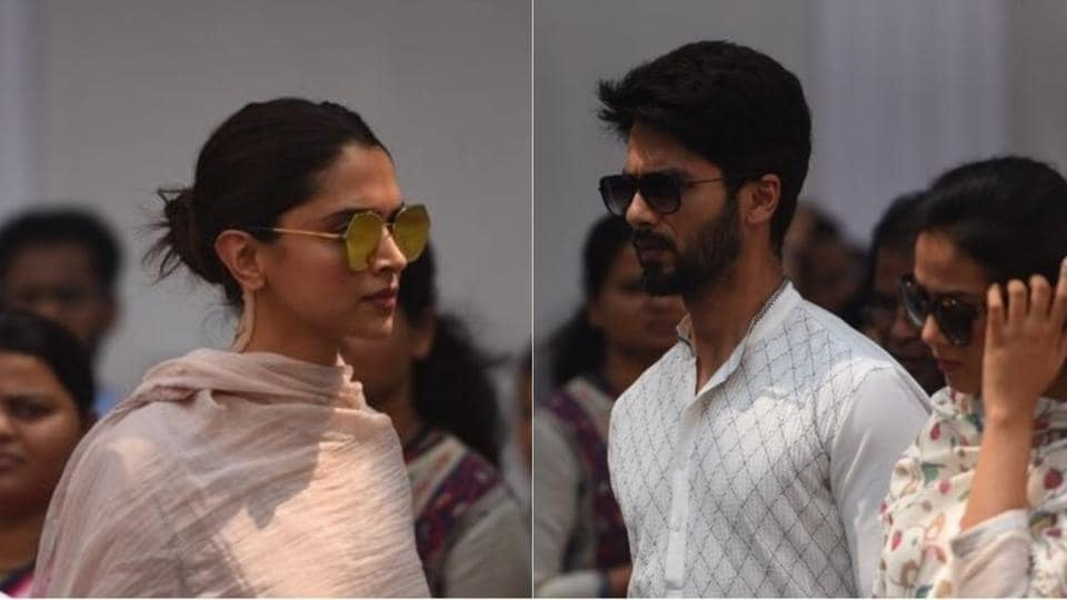 Deepika Padukone and Shahid Kapoor arrive at Celebrations Sports Club to pay their last respects to Sridevi.