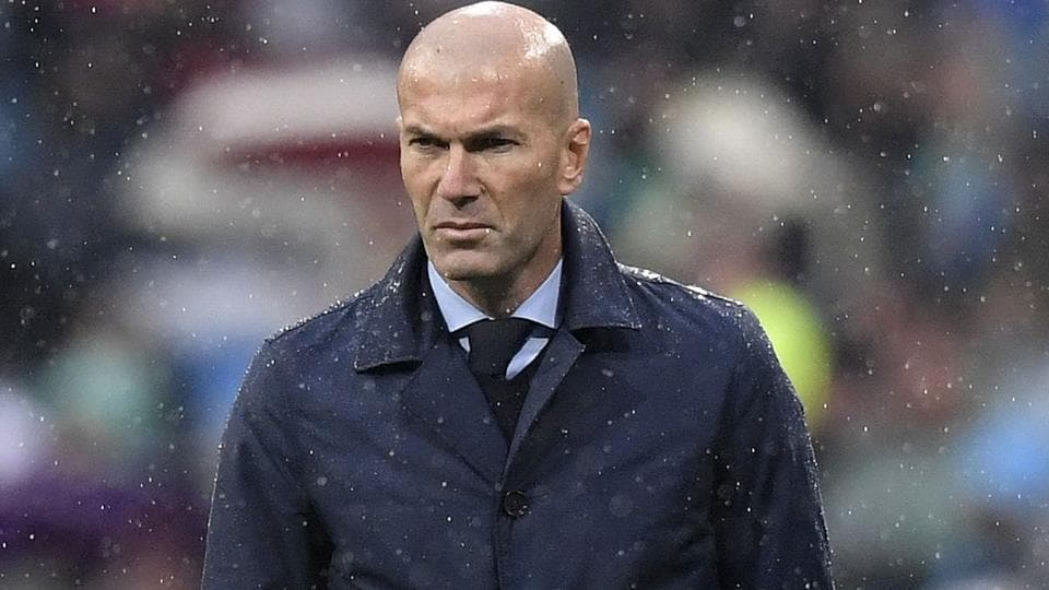 Zinedine Zidane reacts during Real Madrid's match against Espanyol on Tuesday.