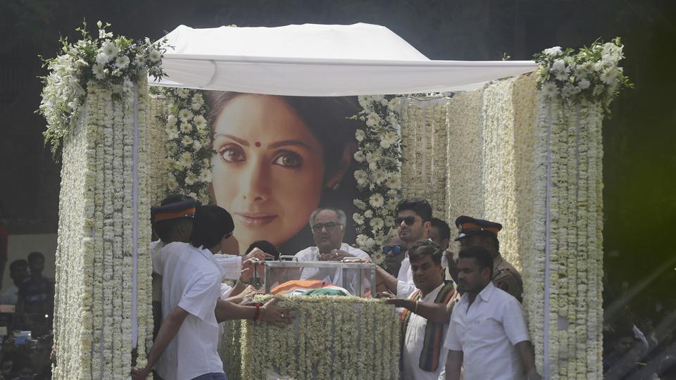 The body of late Sridevi is carried in truck during her funeral in Mumbai, India, Wednesday, Feb. 28, 2018.
