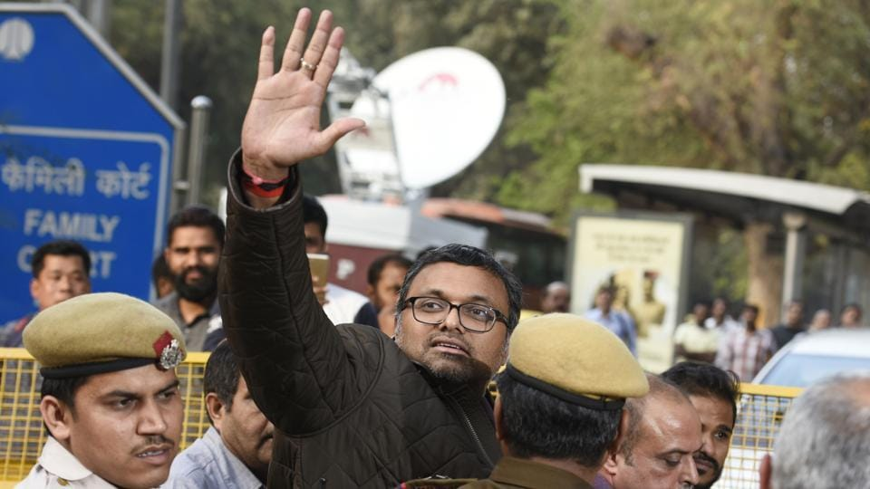 Businessman Karti Chidambaram, son of former finance minister P Chidambaram, being taken Patiala House Courts by the CBI on Wednesday.