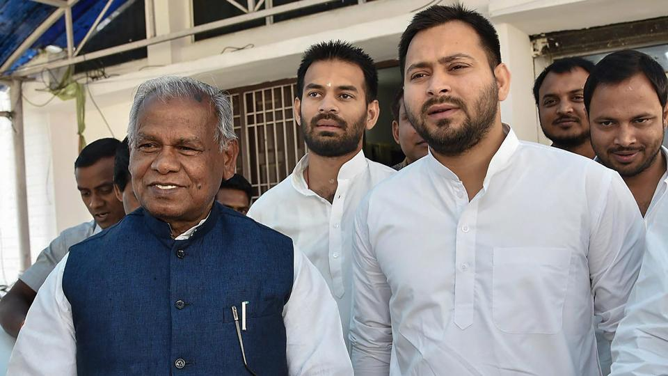 Hindustani Awami Morcha-Secular (HAM-S) president Jitan Ram Manjhi (L) said on Wednesday he has cut ties with the NDA and will join the Rashtriya Janata Dal-led Grand Alliance in Bihar, in what could be a major setback to the ruling coalition in the state ahead of a bypoll and Rajya Sabha elections. (PTI)