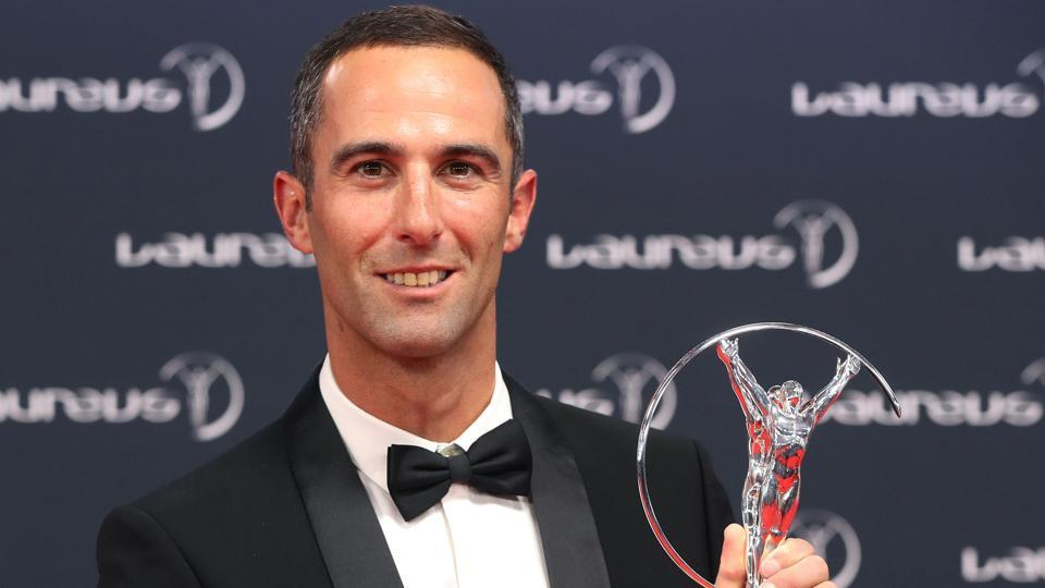 French skipper Armel Le Cleac'h poses with his Action Sportsperson of the year award. (AFP)