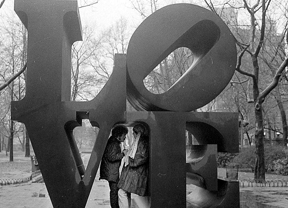 Shelter from the storm: Inside Robert Indiana's 'Love' sculpture.