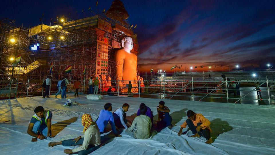 The statue of Gomateshwara is illuminated ahead of the inauguration of Mahamasthakabhishek at Shravanabelagola in Hassan district, 150 km from Bengaluru on Friday. Observed once every 12 years in Jain Dharmic cycle, the veneration ceremony this year is the 88th in the series that commenced in the year 981 A.D. The majestic 57-feet statue, carved out of a single piece of rock, is said to be the world's tallest monolith. (Shailendra Bhojak  / PTI)