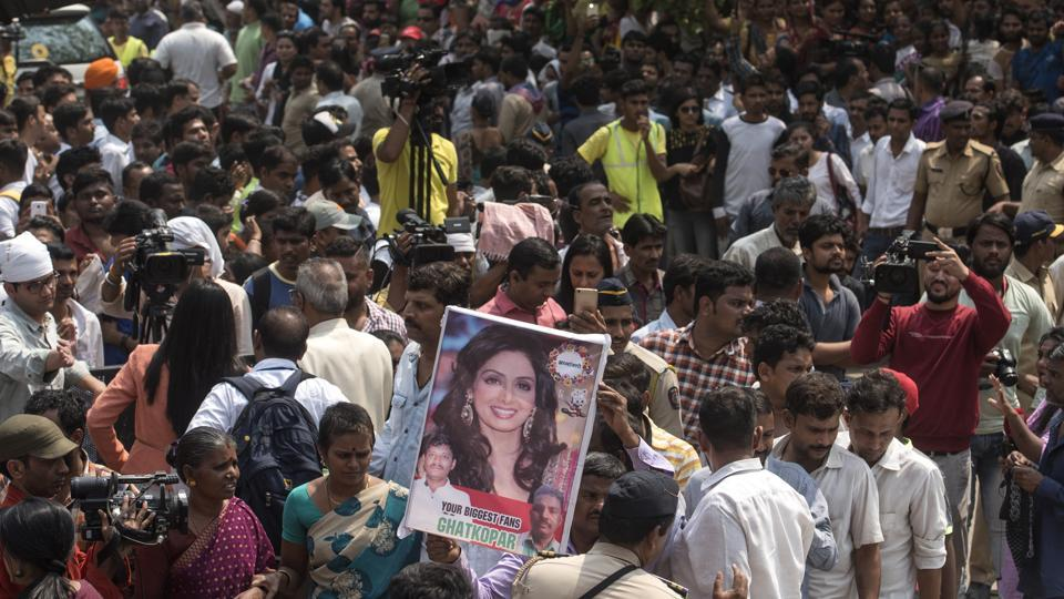 Crowd during Sridevi Kapoor funeral procession outside Celebration club in Mumbai, India, on Wednesday, February 28, 2018.