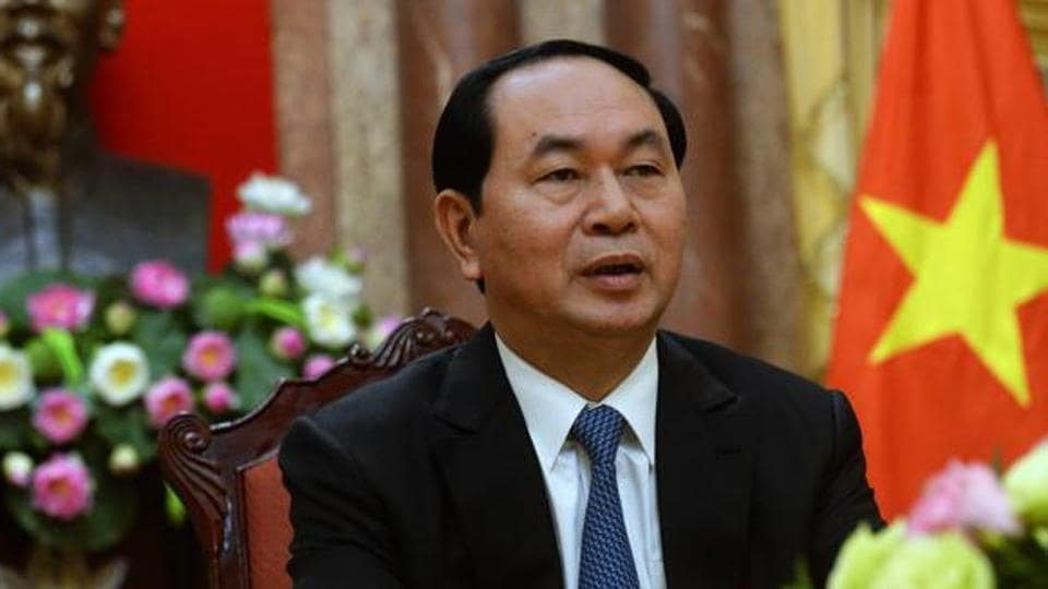 Vietnamese president Tran Dai Quang speaks during an interview at the presidential palace in Hanoi in 2016.