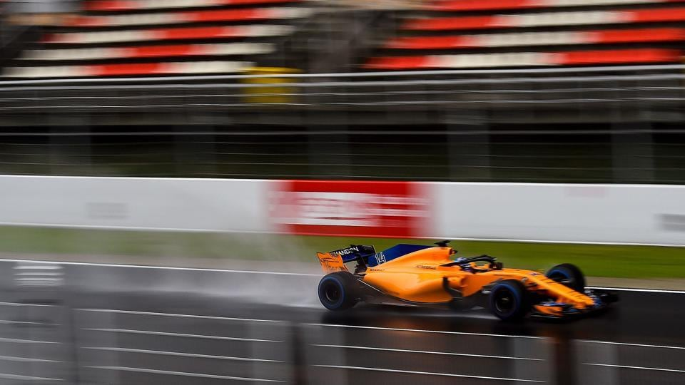 McLaren F1 team's Spanish driver Fernando Alonso drives at the Circuit de Catalunya on Wednesday during the third day of the first week of tests for the Formula One pre-season tests.