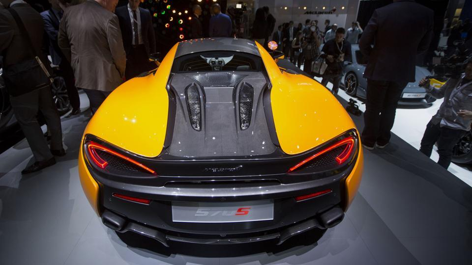 The McLaren Automotive Ltd. 570S vehicle displayed during the 2015 New York International Auto Show in New York, U.S.