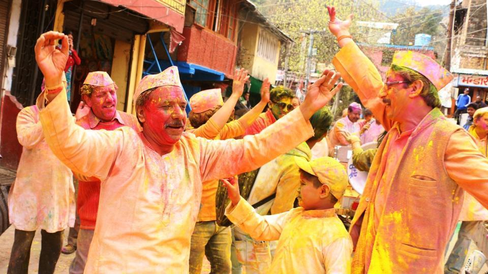 Holi festivity in Nainital on Thursday.