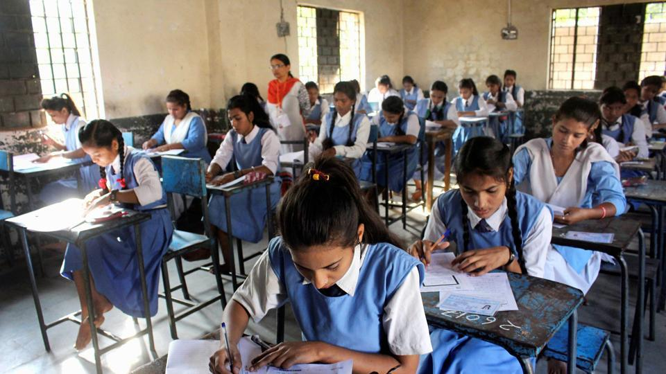 Class12 students write Madhya Pradesh state board exam in Bhopal on Thursday.