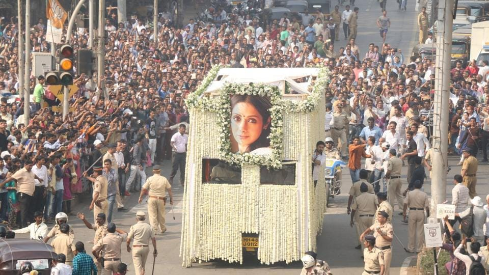 Last rites of Sridevi underway in Mumbai on Feb 28, 2018.