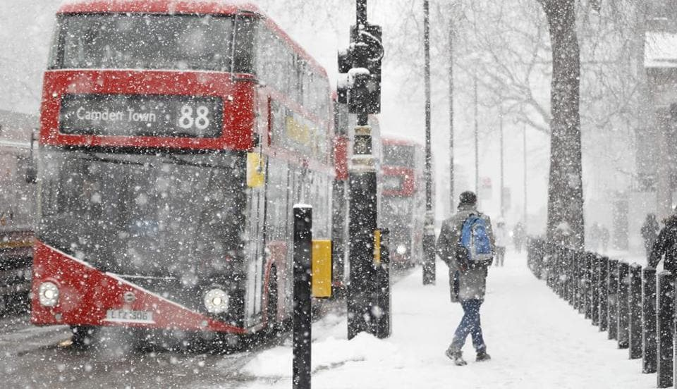 A blizzard hit central London as temperatures remained below freezing on February 28, 2018. Europe is in the grips of a blast of Siberian weather.