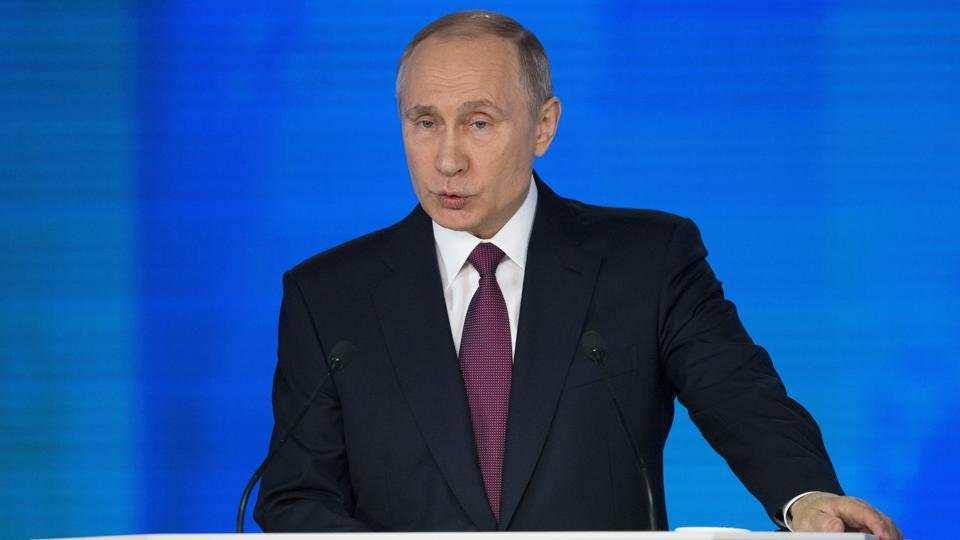 Russian President Vladimir Putin gives his annual state of the nation address in Manezh in Moscow on Thursday.