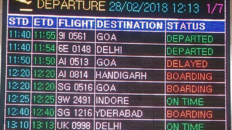 The information on the board says that the Air India Flight, AI-0513, to Goa, which was scheduled to depart on 11.50 am is delayed, although the flight had stopped flying since the last week of December.